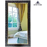 Seven Horses Black Fiber Wood Wall Mirror/Dressing Mirror/Solid Black Water Resistant Synthetic Fiber Wood Made Black(14X26 Inch)