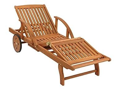 Grasekamp Gartenliege mit Kissen Anthrazit Holz Liege Sonnenliege Relaxliege von Grasekamp bei Gartenmöbel von Du und Dein Garten