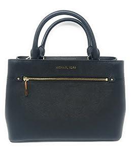 MICHAEL Michael Kors Women's HAILEE Medium Satchel Leather Handbag BLACK