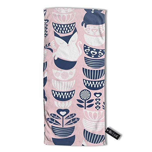 Swedish Folk Cats Pastel Pink Background Navy White Flowers Bowls Multi-Purpose Microfiber Towel Ultra Compact Super Absorbent and Fast Drying Sports Towel Travel Towel Beach Towel. -