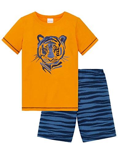 Schiesser Jungen Zweiteiliger Schlafanzug Kn Anzug Kurz, Gelb (Orange 602), 98 (Herstellergröße 098) -
