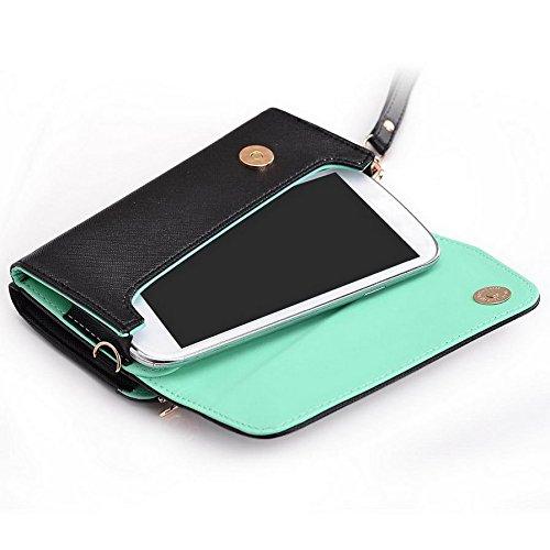 Kroo d'embrayage portefeuille avec dragonne et sangle bandoulière pour Allview A5duo/E2Living Smartphone Multicolore - Black and Green Multicolore - Black and Green