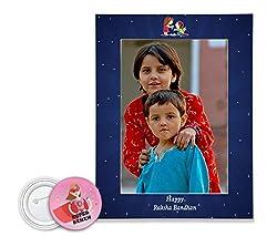 100yellow Rakhi Gifts Wooden Photo Frame for Wall Combo for raksha bandhan Gift for Sister & Sibling