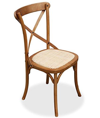Küche Holz-finish Stuhl (KMH®, Esszimmerstuhl Paris Eiche Finish mit Rattan-Sitzfläche (#800162))