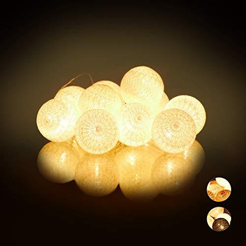 Relaxdays LED Lichterkette mit 10 Baumwollkugeln, batteriebetrieben, Schalter, Stimmungslichter, Kugeln 6 cm Ø, weiß, PS, Baumwolle -