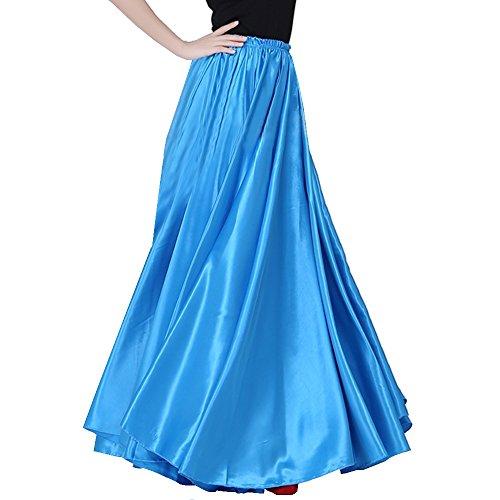 Bauchtanz-Satin langes Kleid Rock 90cm Gummibund Tribe entwerfen wunderbares Geschenk, Großbühneneffekt, Tanz Team / Gruppen (hellblau) (Kleid Langes Satin)
