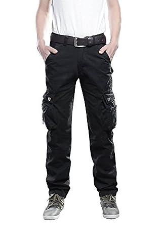 Arbeitshose Herren Stretch cargo pants Cargohose loose casual mit Mehrere Tasche ohne Gürtel Sport,Arbeit,Freizeit,schwarz,48