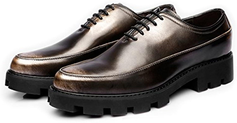 MXNET Herren Freizeitschuhe Matte PU Leder Prom Loafer Lace up Atmungsaktiv Gefüttert Strong Outsole Oxfords