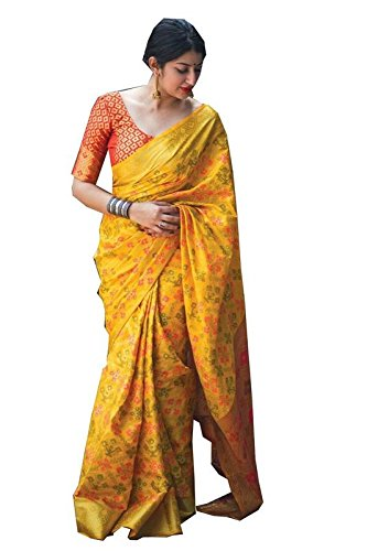 Pure Patola SILK Saree for women and girls with Cotrast Blouse Piece...