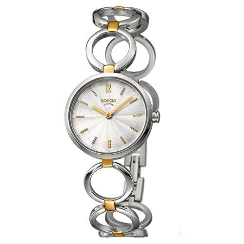 Boccia Damen Analog Quarz Uhr mit Titan Armband 3271-02