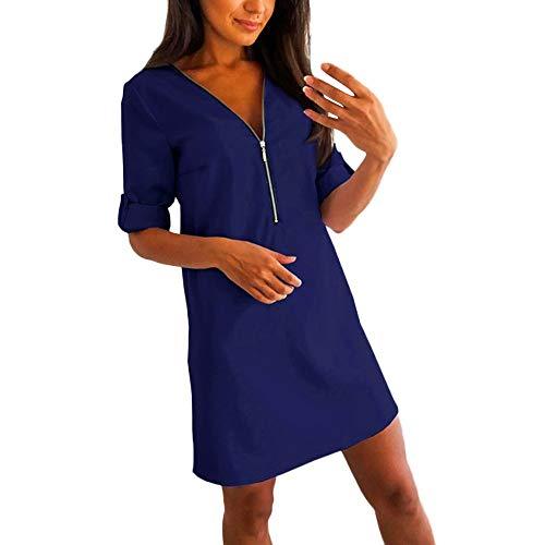 OYSOHE Damen Kleider Mode Reißverschluss Frauen Minikleid Beiläufige Langarm Einfarbig V-Ausschnitt Lose Abend Party Kleider (Medium, Blau)