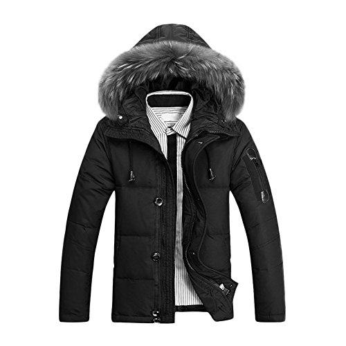 SODIAL(R)Maenner Warmer Pelz Kragen Kapuzen Parka Winter Dicker Mantel Oberbekleidung Daunenjacke - Schwarz XL