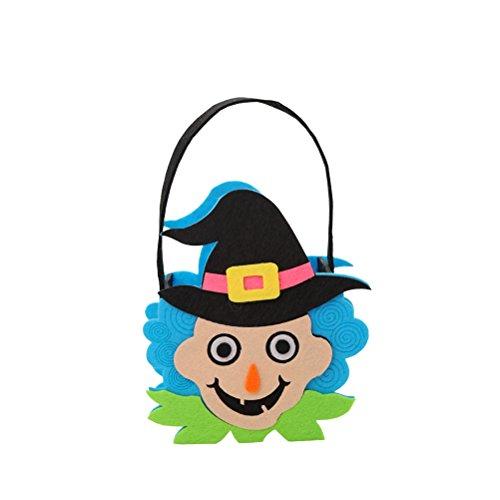 (Amosfun Halloween Kinder Süßigkeitstaschen Handtaschen Non-Woven Candy Taschen Party Favors (Blaue Hexe))