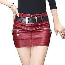Hongxin Mujeres Mini Falda de Cuero de la PU de Fresca Cintura Alta  Cremallera Plisada Falda 7747dc258ce1