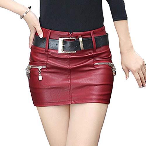 Hongxin Mujeres Mini Falda de Cuero de la PU de Fresca Cintura Alta Cremallera Plisada Falda Corta Decorativa Mini Falda de Estiramiento Sexy lápiz Falda
