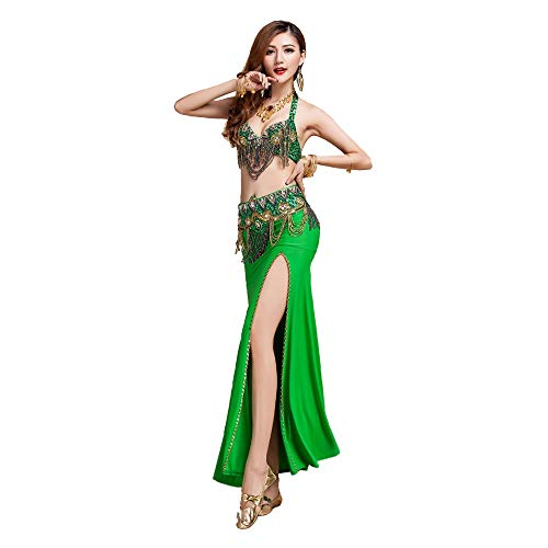 Halloween Tänzer Ballett Kostüm - Haikellos Sexy Tribal Bauchtanz BH Gürtel Karneval Professionelle Tanzanzug Outfit Einfach und elegant (Farbe : Grün, Größe : L)