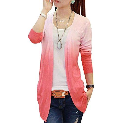 Aelegant Damen Herbst Langarmshirt Pullover Dünn Oberteile Kimono Cardigen  Lang Offene Strickjacke Strickmantel mit Gradient Farbe 32860c723f