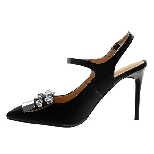 Ouverte Chaussure Diamant Femme Talon Noir Arrière Escarpin Strass Stiletto Mode Mary cm Haut Bijoux Métallique 10 Aiguille Angkorly Jane dIwSfqvS