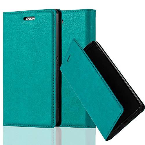 Cadorabo Hülle für Sony Xperia Z3 COMPACT - Hülle in Petrol TÜRKIS - Handyhülle mit Magnetverschluss, Standfunktion & Kartenfach - Case Cover Schutzhülle Etui Tasche Book Klapp Style