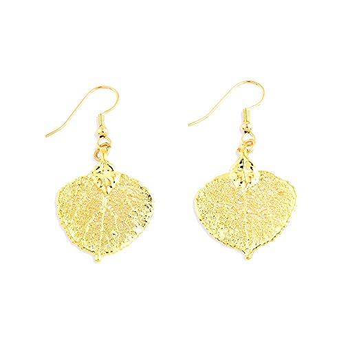 24K Gold getaucht Aspen Blatt Baumeln Ohrringe (24 Aspen)