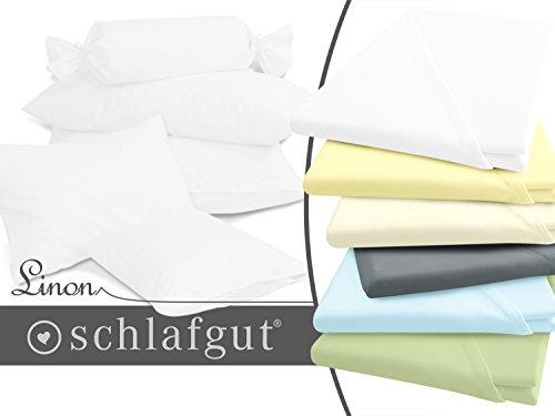 inen in exklusiver Qualität von schlafgut - 100% Baumwolle - in 5 Größen und 5 ausgesuchte Farben - feinfädig und dicht gewebt, ca. 40 x 60 cm, weiß (Gelbe Kissen Mit Knöpfen)