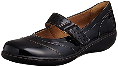 Clarks Womens Casual Clarks Embrace Lux Leather Shoes In Black Patent Standard Fit Size 4