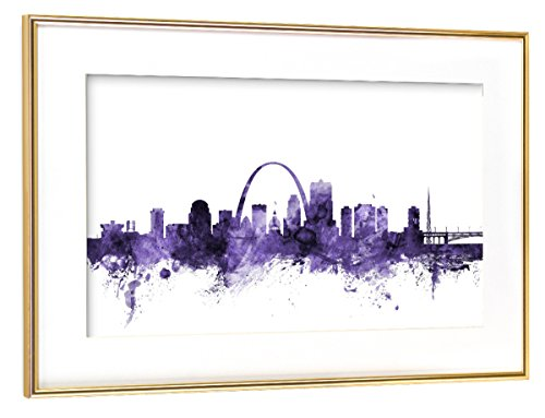 artboxONE Poster mit Rahmen Gold 45x30 cm St Louis Missouri Skyline von Michael Tompsett - gerahmtes Poster (St Louis Skyline Poster)