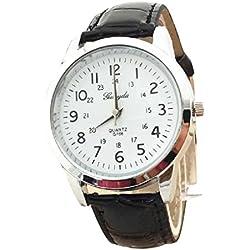 Familizo Elegant Analog Luxury Leather Strap Quartz Mens Wrist Watch Black