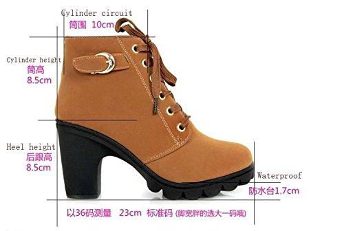 Gaorui Damen Stiefel Stiefeletten Stöckelschuhe Ankel Boots mit Schnürsenkel PU Leder High Hells Blockenabsatz Schwarz