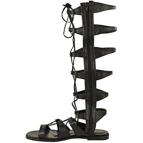 Scarpe Basse Da Donna Al Ginocchio Sandali Da Gladiatore Gabbia Stivali Con Lacci Misura Ecopelle Nera