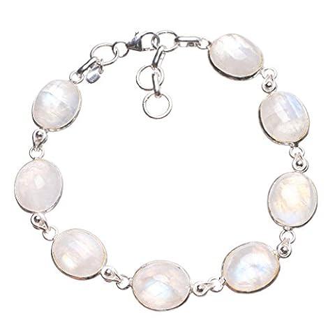 StarGems(tm) Natural Rainbow Moonstone Handmade Indian 925 Sterling Silver Tennis Bracelet 7 1/2-8