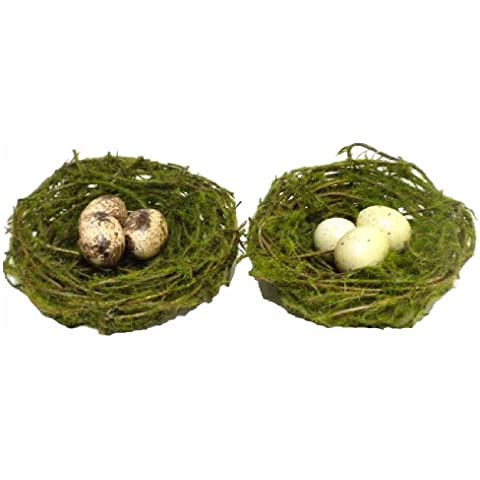 One Faux Mini Moss and Twig Bird's Nest w/ Clip-Assort. Colors by COO - Mini Twig
