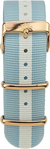 Sailor Damen Herren Nylon Armband Captain blau-weiß BSL101-2011-20, Breite Armband:20mm (normal), Farbe Edelstahl:Rosègold (Armbänder Captain)