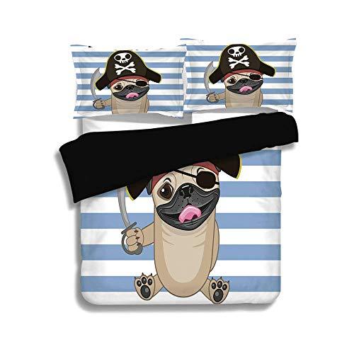 Twin Cartoon Kostüm - Schwarzer Bettbezug-Set, Pirat, Freibeuter-Hund im Cartoon-Stil Kostüm mit Schwert Lil Pirate gestreiften Hintergrund, Multicolor, dekorative 3-tlg. Bettwäsche-Set von 2 Pillow Shams, TWIN-Größe