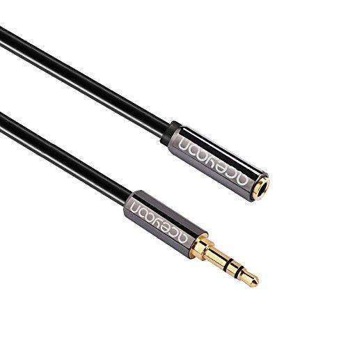 aceyoon 3.5mm Klinke Aux Verlängerung 2m lang 4 polig Stereo mini In Ear Kopfhörer Headset Jack Verlängerungskabel vergoldet Audiokabel für Auto PC Tablet Handy Lautsprecher Headphone Extender Cable