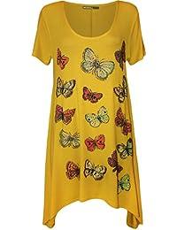 WearAll - Grande taille papillon imprimé mouchoir ourlet irrégulier t-shirt top à manches courts - Hauts - Femmes - Tailles 42 à 56