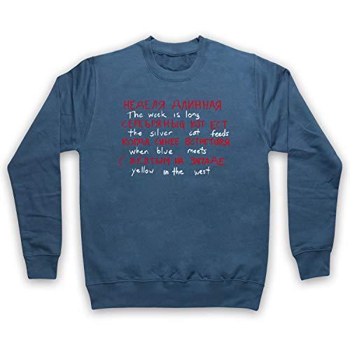 Inspired Apparel Inspiriert durch Stranger Things The Silver Cat Feeds Russian Code Unofficial Erwachsenen Sweatshirt, Airforce Blau, XS Air Force-sweatshirt