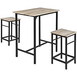 SoBuy® OGT10-N Set de 1 Table + 2 Tabourets Ensemble table de bar bistrot + 2 tabourets avec repose-pieds Table Mange-debout Table haute cuisine