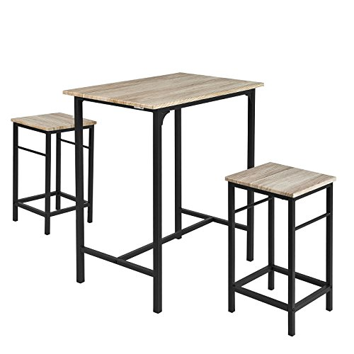 SoBuy® OGT10-N Set de 1 Table + 2 Tabourets Ensemble table de bar bistrot + 2 tabourets avec repose-pieds Table Mange-debout Table haute cuisine