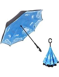 everestor paraguas invertido del revés plegable doble capa UV Protección cortavientos Reverse paraguas Self-Standing laboratorio mango manos libres para coche lluvia sol