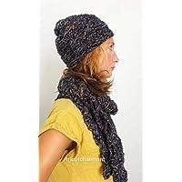 cappello sciarpa set inverno donna lana nero 3d85adc500f4