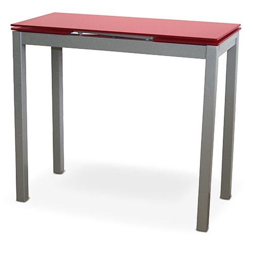 LIQUIDATODO ® - Mesa de cocina extensible con sobre de vidrio rojo, plateado moderna y barata