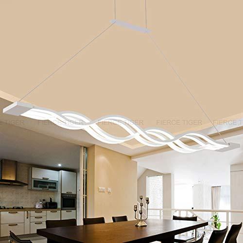 Pendelleuchte Dimmbar LED Esstisch Esszimmerlampe Moderne Kreative Designer Lüster Höhenverstellbar Metall Welle Decken-leuchte Jugendzimmer Dekorative Hängeleuchte Wohnzimmer Büro Bad Lampe (4 Welle)
