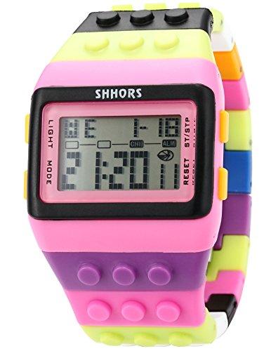 AMPM24 LED088-Orologio da polso unisex,Gomma,Fashion Digitale LCD Display Sveglia Cronografo,colore:Multicolore