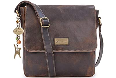 Catwalk Collection Handbags - Cuir Vintage Texture - Moyenne Sac Bandoulière/Besace/Sac Porté Croisé/Messenger pour Tablettes/iPad - Femme - SABINE M