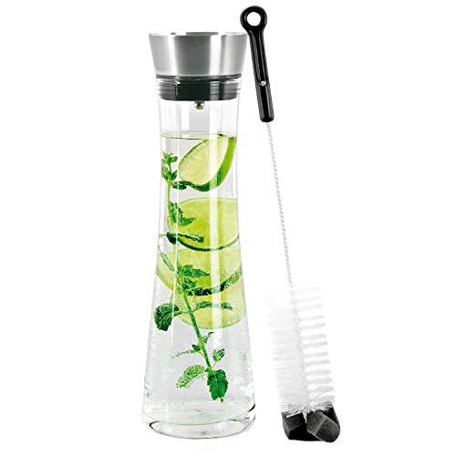 bremermann Glaskaraffe Svea 1,2 Liter mit praktischem Edelstahlausgießer