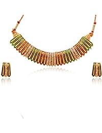 Cz Stone With Minakari Work Necklace Set