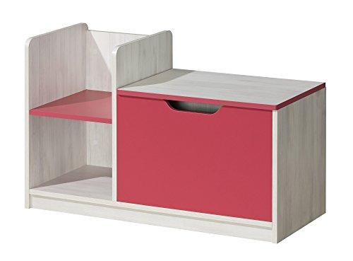 Preisvergleich Produktbild Kommode Spielzeugtruhe Kindermöbel NUKI Kinderzimmer Babyzimmer (Norwegische Kiefer - Himbeere)