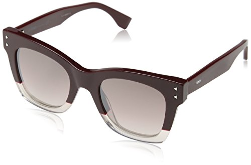 Fendi Damen FF 0237/S NQ LHF Sonnenbrille, Rot (Burgundy Opal/Brown Smoke SLV), 49