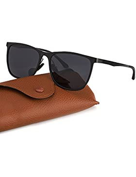 Gafas de Sol Polarizadas Hombre Al-Mg Marco de Metal Ultra Light, Protección 100% UVA/UVB Deportes al aire libre...